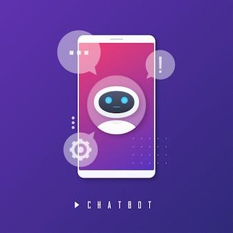 Chat bot, asistencia virtual, concepto de inteligencia artificial.