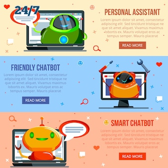 Chat bot flat banners