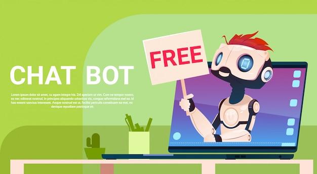 Chat bot gratuito, asistencia virtual de robot de sitio web o aplicaciones móviles, inteligencia artificial c