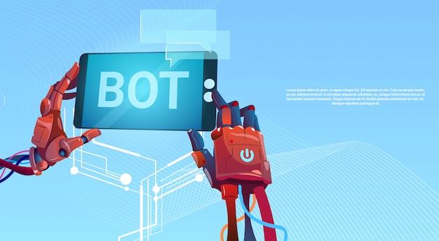 Chat bot hands usando el teléfono celular inteligente, robot virtual assistance del sitio web o aplicaciones móviles, a