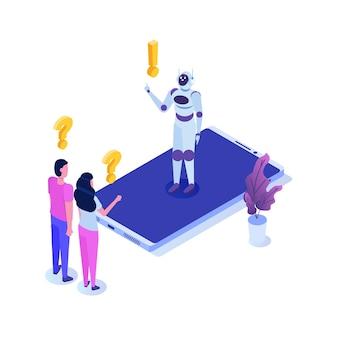 Chat bot, inteligencia artificial isométrica. concepto de ia y iot empresarial.