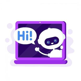 Chat bot en laptop diciendo hola