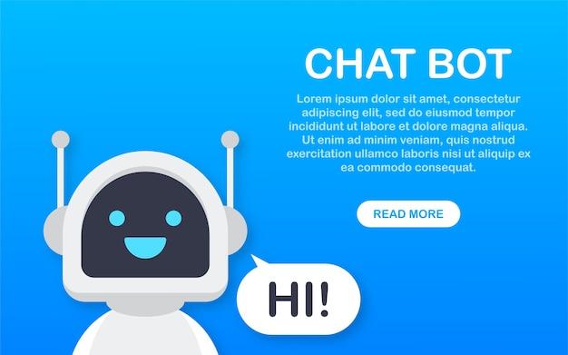 Chat bot, robot asistencia virtual. bot de servicio de soporte de voz. bot de soporte en línea
