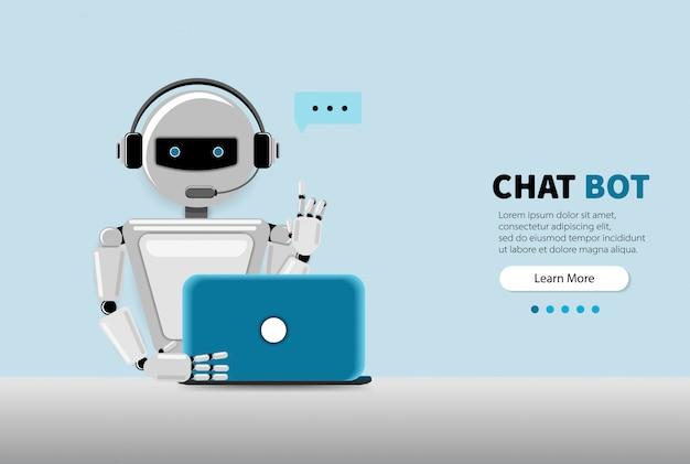 Chat bot usando una computadora portátil, asistencia virtual de robot del sitio web o aplicaciones móviles. servicio de soporte de voz bot. soporte en línea bot. ilustración.