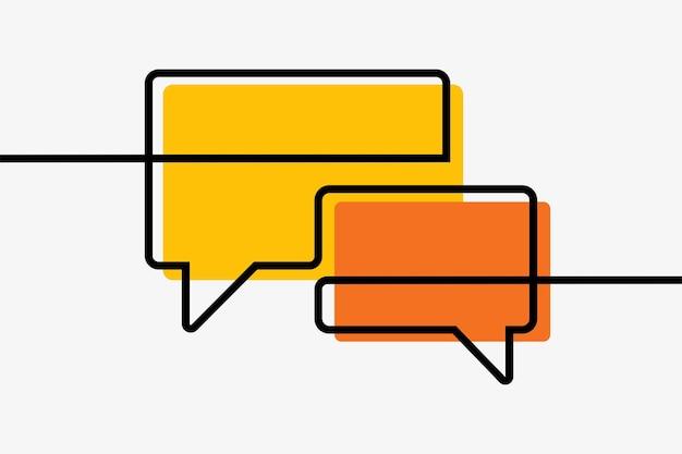 Chat box comunicación en línea arte de línea continua