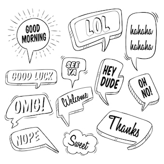 Chat de burbuja o discurso de burbuja con texto y uso de estilo doodle