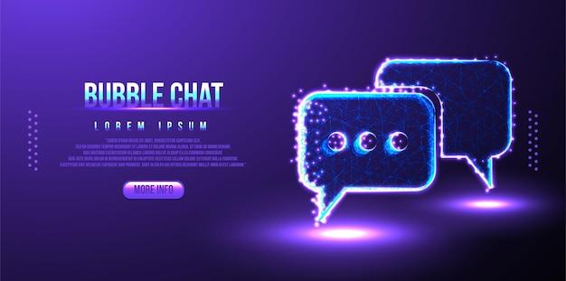Chat, burbuja, texto, mensajes, diseño de malla de estructura de alambre de baja poli