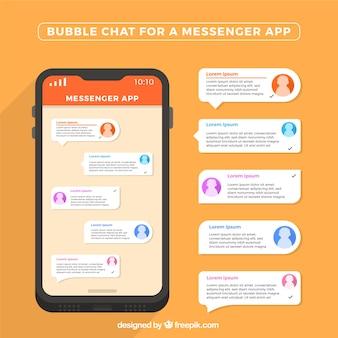 Chat de burbujas para aplicación de mensajería en estilo plano
