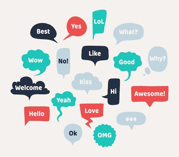 Chat burbujas de discurso dibujadas a mano. globo de pensamiento con bordes ásperos y textura grunge ruidosa