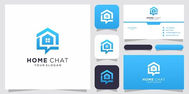 El chat en casa creativo combina el icono de conversación en casa y la burbuja y la tarjeta de visita