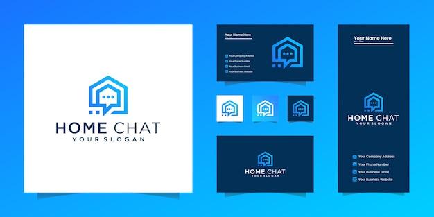El chat en casa creativo combina el icono de inicio, conversación y burbuja y tarjeta de visita.