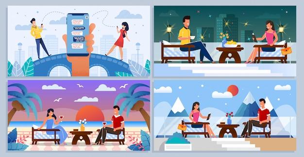 Chat de citas en línea, personas en un set de reuniones románticas