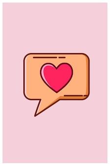 Chat con dibujos animados de notificación de amor