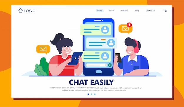 Chat fácilmente diseño de vector de ilustración de sitio web de página de aterrizaje