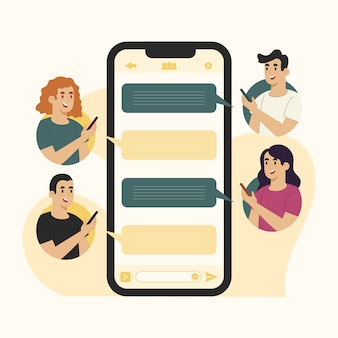 Chat de grupo móvil de concepto de mensajes