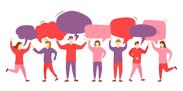 Chat en grupo de personas. agrupar personajes con burbujas de comunicación. trabajo en equipo. mensaje. globos de texto. iconos de mujeres y hombres con coloridos bocadillos de diálogo. ilustración,.