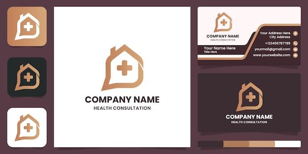 Chat home diseño de logotipo médico y tarjeta de visita.