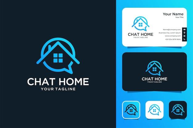 Chat home line art diseño de logotipo y tarjeta de visita.