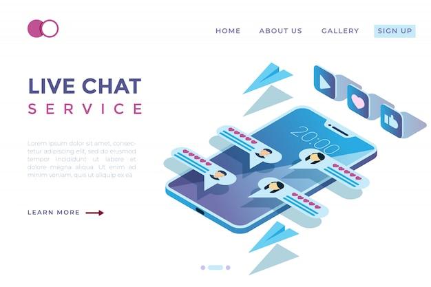 Chat ilustraciones a través de las redes sociales en la ilustración isométrica 3d