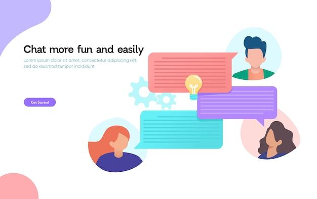 Chat en línea, concepto de diseño de ilustración vectorial, qna, la gente usa el teléfono inteligente para chatear en las redes sociales, mensaje instantáneo