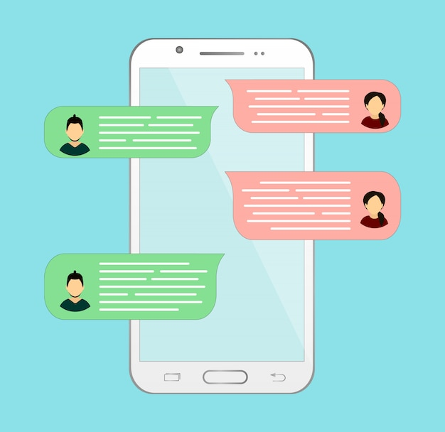 Chat en línea en el teléfono. correspondencia o diálogo con otra persona.