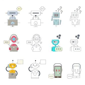 Chat lineal conjunto de bot.