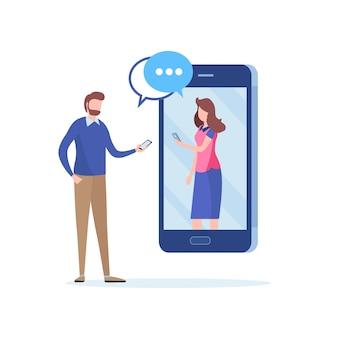 Chat a través de la red social.