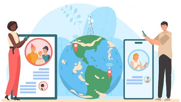 El chat de video en el teléfono móvil en el mundo de larga distancia masculino y femenino se comunica usando el chat de video en la ilustración de dibujos animados de teléfonos inteligentes.