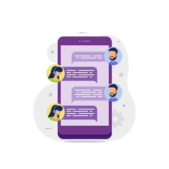 Chat en vivo en la conversación de soporte en línea de messenger con servicio al cliente
