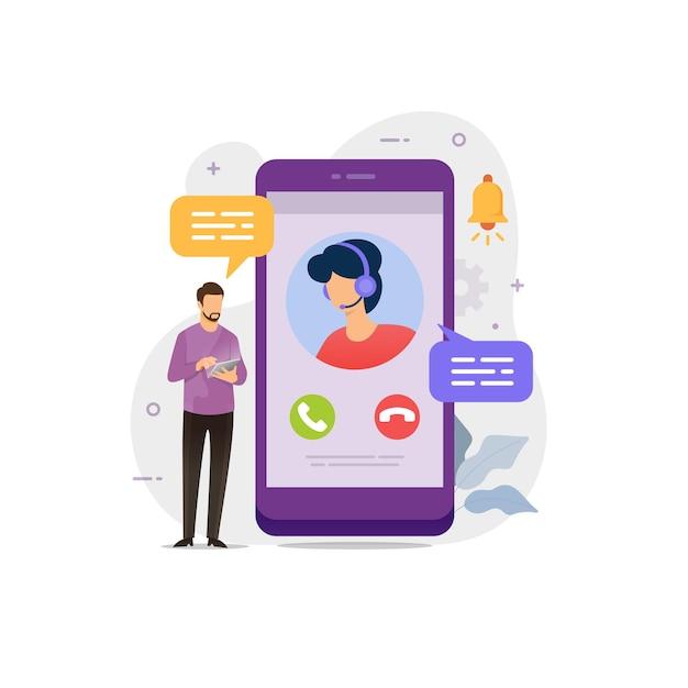 Chat en vivo con la ilustración de vector de servicio al cliente
