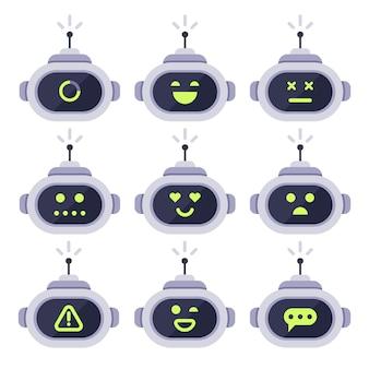 Chatbot avatar. robot de computadora android con conjunto de iconos de expresiones faciales