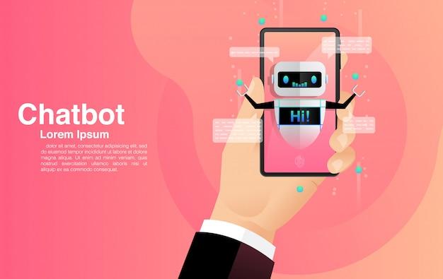 Chatbot, chat con la aplicación chatbot, tecnología chatbot y centro de ayuda en línea.