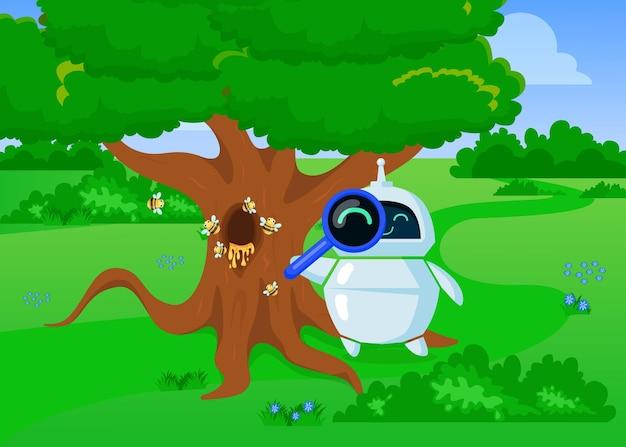 Chatbot de dibujos animados lindo explorando la naturaleza con lupa. ilustración plana.