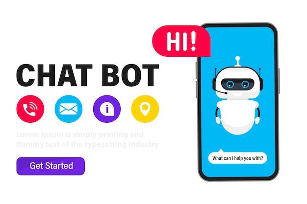 Chatbot en la pantalla de un teléfono inteligente, banner web. chat bot en el teléfono. inteligencia artificial. servicio de ayuda charlando con la aplicación chatbot. tecnología neuronet o ai, atención al cliente, asistente virtual