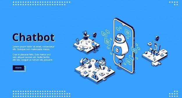 Chatbot robot ayuda a las personas en la oficina