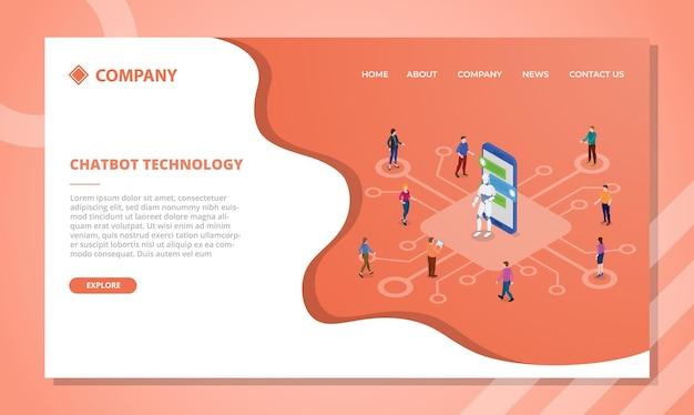 Chatbot con robot y personas comunican el concepto de plantilla de sitio web o página de inicio de aterrizaje con estilo isométrico