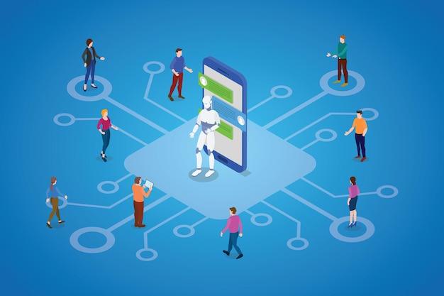 Chatbot con robot y personas comunican ilustración.