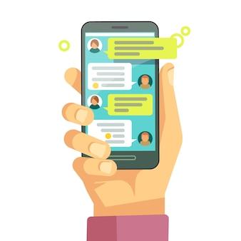 Chateando con chatbot en el teléfono