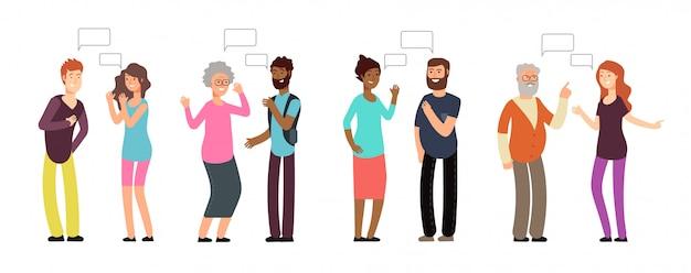 Chateando personas. grupo de personas en conversación