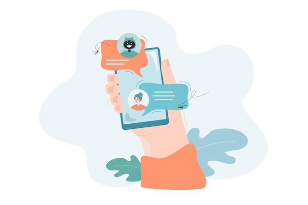 Chatear con bot en línea obtener ayuda en concepto de soporte en línea de tecnología de asistencia de mensajería