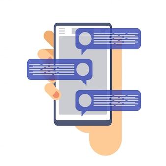 Chatear las notificaciones de mensajes en el teléfono móvil. mano que sostiene el teléfono inteligente.