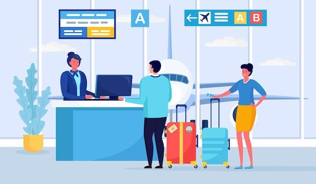 Check in, registro en la terminal del aeropuerto, pasajeros que hacen cola en la puerta de salidas