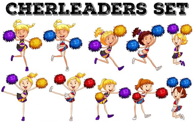 Cheerleaders con pompom saltando arriba y abajo ilustración