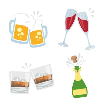Cheers clink glasses bebidas alcohólicas drink party vector