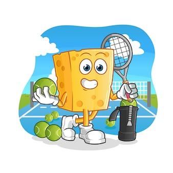 Cheese juega mascota de dibujos animados de tenis