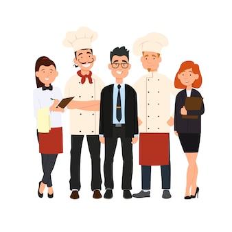 Chef, asistentes, gerente o anfitrión, camarera o anfitriona.