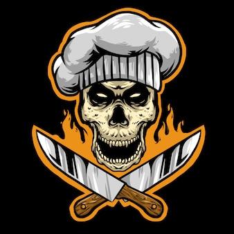 Chef de calavera con mascota de logo de cuchillos