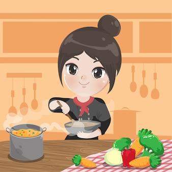 Chef chica está cocinando cocinando en la cocina