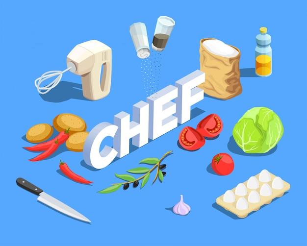 Chef cocinar fondo isométrico