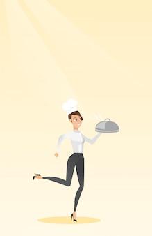 Chef cocinero corriendo